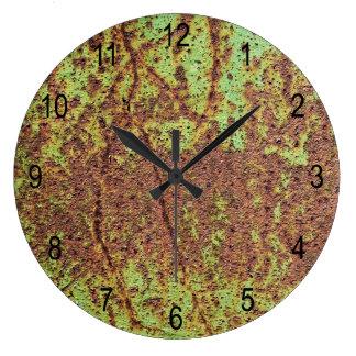 Rusty green look large clock