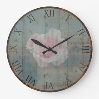 Rusty Metal and Painted Rose Large Clock