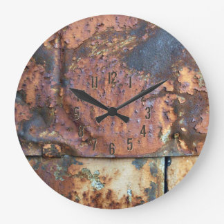 Rusty Metal Siding Old Industrial Building Large Clock
