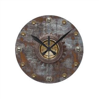 Rusty Metal Steampunk Vintage Old Round Clock