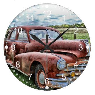 Rusty Old Classic Car Vintage Automobile Large Clock