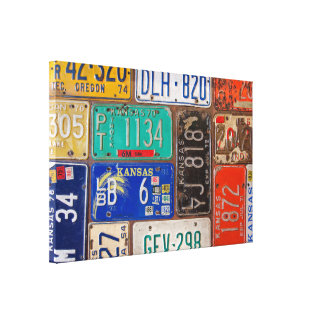 rusty retro license plate collage canvas print
