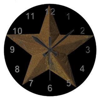 Rusty Star Large Clock