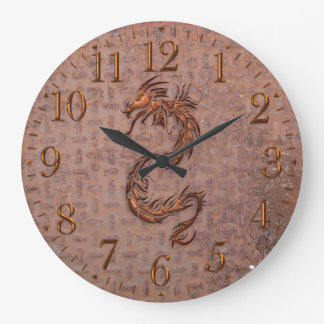 Rusty Steel-plated Metal-look Dragon Wall Clock