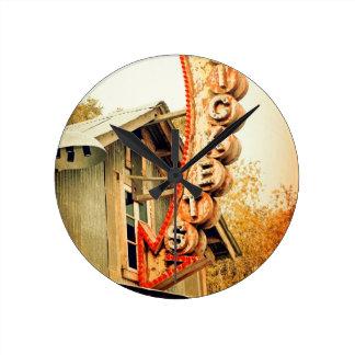 Rusty Tickets Round Clock
