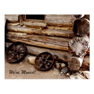 Rusty Wagon Wheels New Address Announcement Postcard