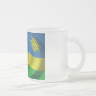Rwanda Flag Frosted Glass Coffee Mug
