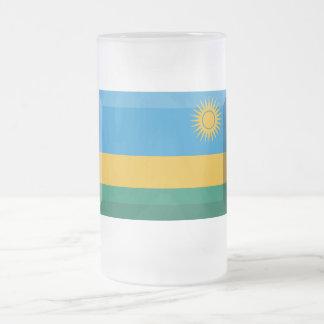 Rwanda Flag Jewel Frosted Glass Beer Mug