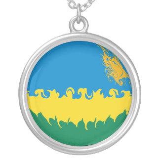 Rwanda Gnarly Flag Round Pendant Necklace