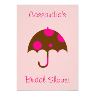 """""""__'s Bridal Shower"""" - Umbrella In Chocolate Brown Card"""