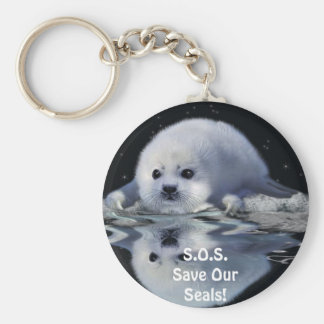 S.O.S. SAVE OUR HARP SEALS KEY RING