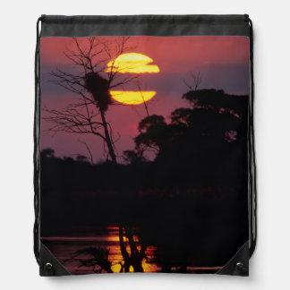 Sabi River At Sunset, Kruger National Park Drawstring Bags
