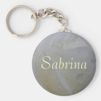 Sabrina Pretty White Rose Custom Name Keychain
