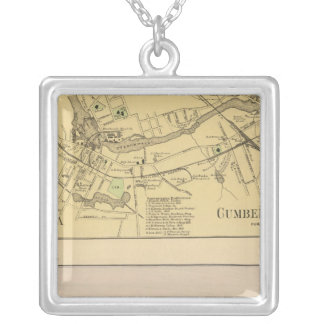 Saccarappa, Cumberland Mills, Washburn Village map Silver Plated Necklace