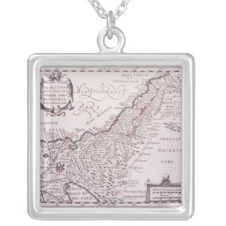 Sacred Map of Palestine, The Promised Land Silver Plated Necklace