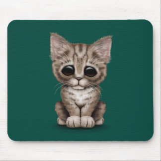 Sad Cute Brown Tabby Kitten Cat on Teal Blue Mouse Pad