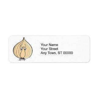 sad garlic face return address label