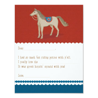 Saddle Up Fill-in-the-Blank Thank You Card: Red 11 Cm X 14 Cm Invitation Card