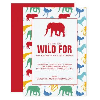 Safari Animal Boy Birthday Party Invitation