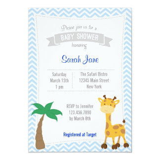 Safari Animal Giraffe Baby Shower Invites Chevron