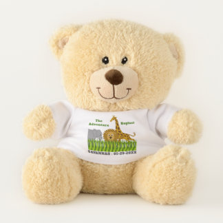 Safari Animals Adventure with Name and Date Teddy Bear