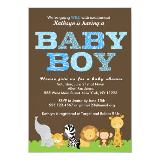 Safari Baby Boy Shower Invitation