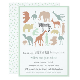SAFARI BABY PASTEL 13 CM X 18 CM INVITATION CARD