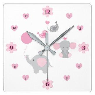 Safari Elephant Pink Grey Grey Baby Girl Nursery Square Wall Clock