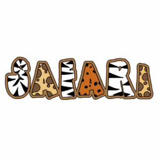 Safari in Animal Print Letters Keychain Photo Sculpture Key Ring
