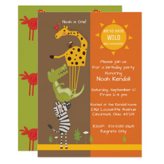 Safari jungle animal birthday party invitation