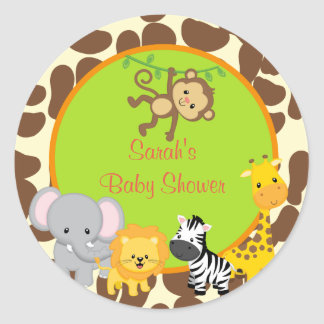 Safari Jungle Baby Shower favor stickers Tags