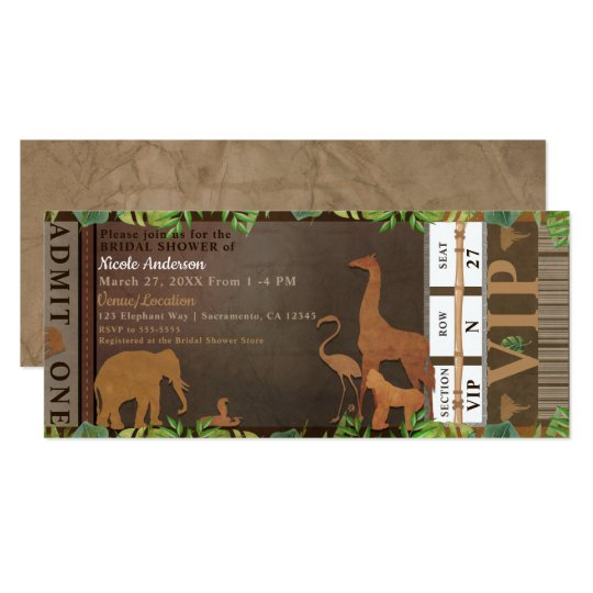 Safari Jungle Brown Animals Bridal Shower Ticket Card