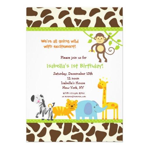 Safari Jungle Zoo Birthday invitations