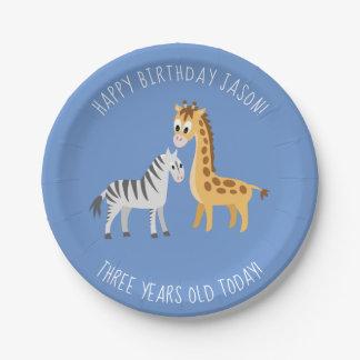 Safari Theme 3rd Birthday Party Giraffe and Zebra Paper Plate