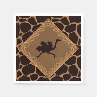 Safari Theme Ostrich over Giraffe Print Disposable Napkin
