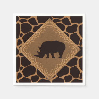 Safari Theme Rhinoceros Disposable Serviettes