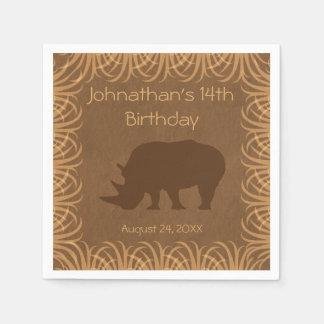 Safari Theme Rhinoceros Personalized Paper Napkins