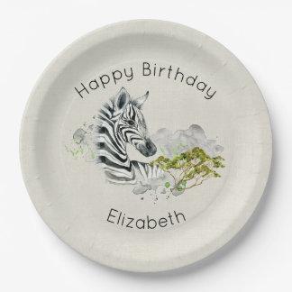 Safari Zebra Wild Exotic Animal Happy Birthday Paper Plate