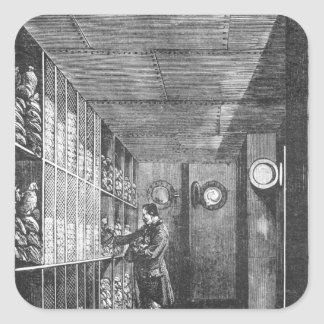 Safes at the Bank of France in Paris, 1897 Square Sticker