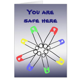 Safety Pin Rainbow Red Blue Green Solidarity Card
