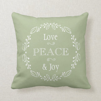 Sage Green Floral Holiday Peace Typography Cushion