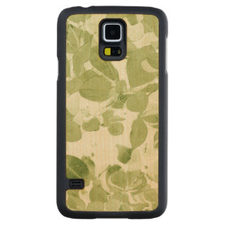 Sage Green Leaf Pattern, Vintage Inspired Carved Maple Galaxy S5 Case