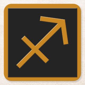 Sagittarius Gold and Black Square Paper Coaster