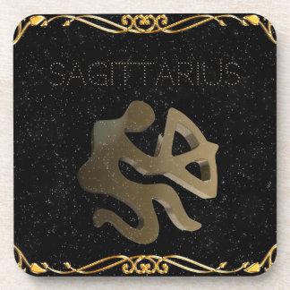 Sagittarius golden sign coaster