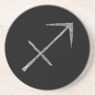 Sagittarius. Zodiac Astrology Sign. Black. Coaster