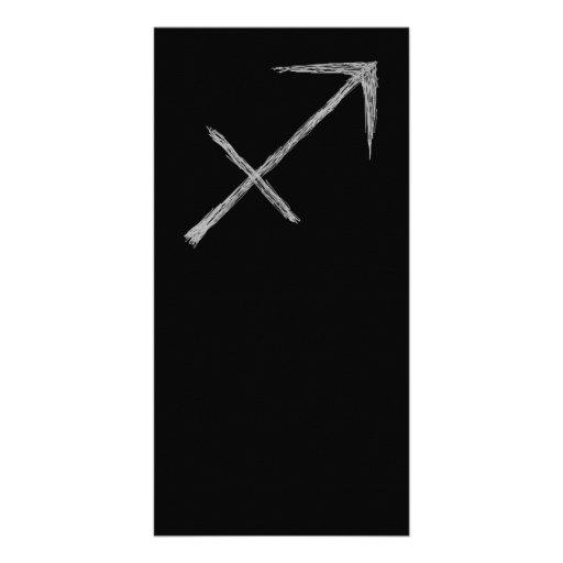 Sagittarius. Zodiac Astrology Sign. Black. Personalized Photo Card