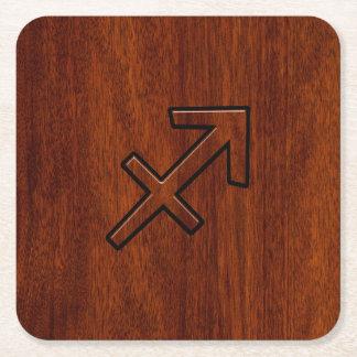 Sagittarius Zodiac Sign in Mahogany Wood Style Square Paper Coaster