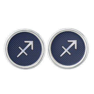 Sagittarius Zodiac Sign on Blue Carbon Fiber Decor Cufflinks