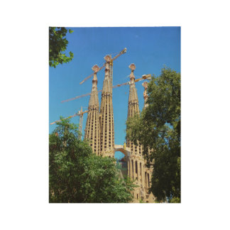 Sagrada Familia church in Barcelona, Spain Wood Poster