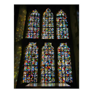 Sagrada Familia Stained Glass Barcelona Photograph Poster
